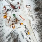 Auch bei Schnee können die Bauarbeiten fortgesetzt werden.